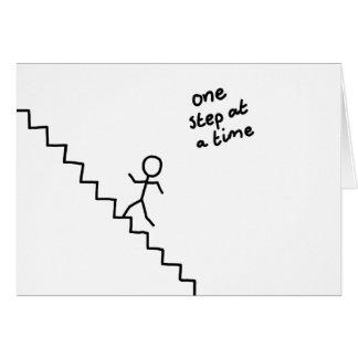 """van de """"één stap tegelijkertijd"""" stok het man op briefkaarten 0"""
