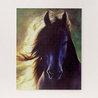 """Van de """"Friesian Gloed"""" het zwarte paard, hengst Legpuzzel"""