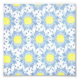 Van de hennamandala van Boho blauw geel de Foto Afdruk