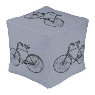Van de het decorpoef van de vintage fietsfiets het vierkant zitkussen