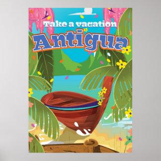 Van de het eiland vintage reis van Antigua het Poster