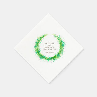 Van de het groenkroon van het huwelijk de papieren servet