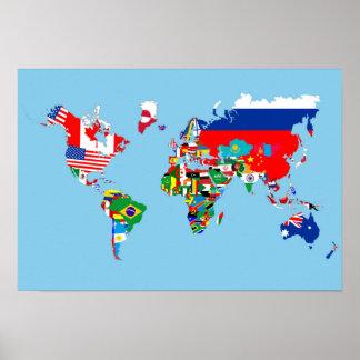 van de het landvlag van de wereldkaart het poster