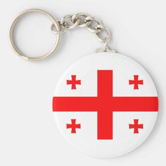 van de het landvlag van Georgië het lange symbool Basic Ronde Button Sleutelhanger