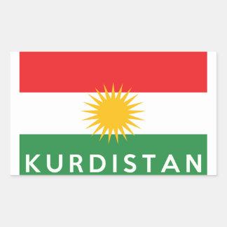 van de het landvlag van Koerdistan de tekst van de Rechthoekige Sticker