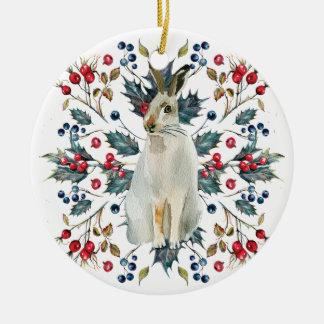 Van de Kerstmisboom van hazen de bessen van de het Rond Keramisch Ornament