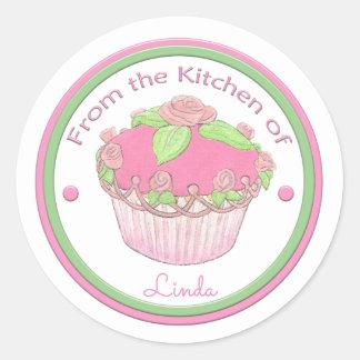 Van de Keuken van Douane Sticker~Rose Cupcake Ronde Sticker