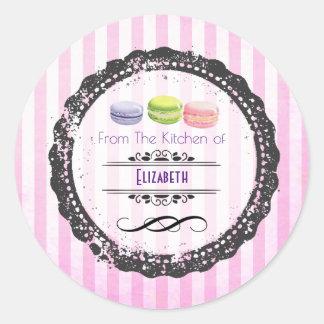 Van de Keuken van Snoepjes Macaron Ronde Sticker