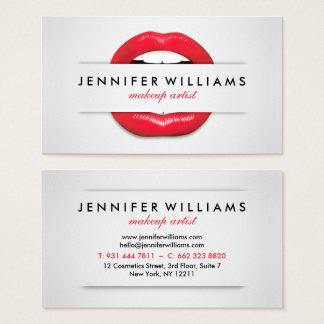 Van de kunstenaars de koele rode lippen van de visitekaartjes