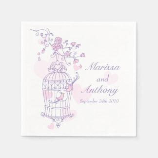 Van de liefdevogels van het huwelijk paarse roze wegwerp servetten