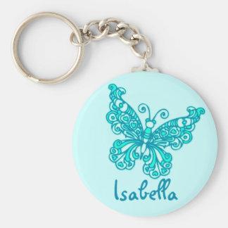 Van de meisjesaqua van de vlinder de blauwe naam basic ronde button sleutelhanger