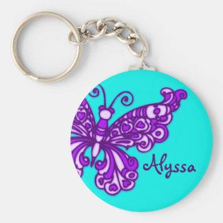 Van de meisjesaqua van de vlinder de paarse naam sleutelhanger