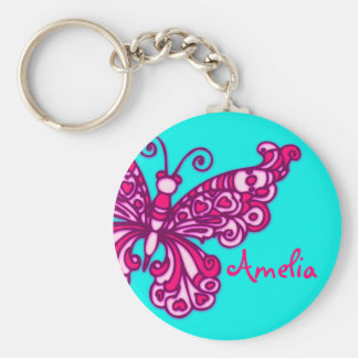 Van de meisjesaqua van de vlinder de roze naam sleutelhanger