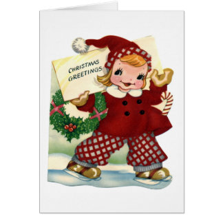 """Van de """"Retro van het Kind Groeten van Kerstmis"""" Wenskaart"""