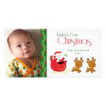 Van de santaar van eerste Kerstmis van de baby de  Fotokaarten
