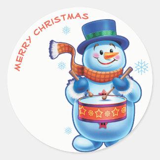 Van de slagwerkerKerstmis van de sneeuwman het Ronde Sticker