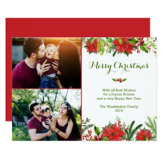Van de vakantie rode poinsettia van Kerstmis de 12,7x17,8 Uitnodiging Kaart