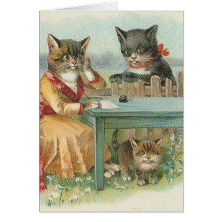 """Van de """"van de Kat Familie"""" het Vintage Wenskaart Kaart"""