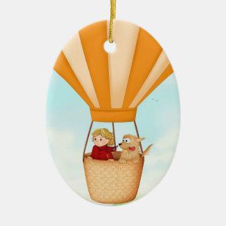 Van de van het hete luchtballon, meisje en hond keramisch ovaal ornament