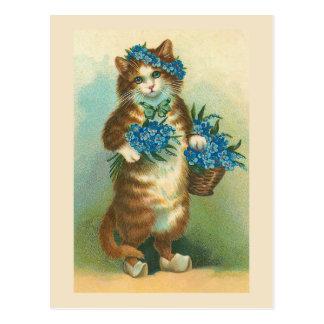 """Van de """"vintage Kat met Vergeet-mij-nietjes"""" het Briefkaart"""