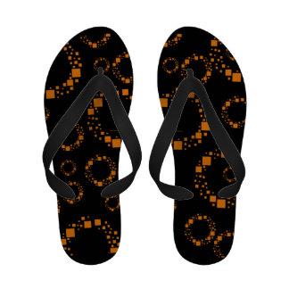 Van de zonnestraalpantoffels van vierkanten oranje slippers