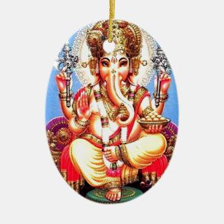 Van Ganesha (गणेश) de Indische Olifant Keramisch Ovaal Ornament