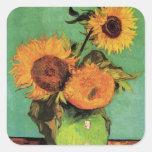 Van Gogh 3 Zonnebloemen in een Vintage BloemenArt. Vierkante Sticker
