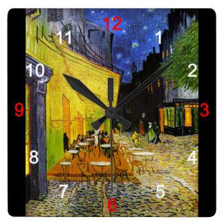 "Van Gogh , ""Cafe Terrace at Night"" Vierkante Klok"