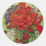 Van Gogh de de Rode Papavers en Madeliefjes van de Ronde Sticker