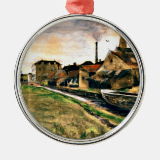 Van Gogh: De fabriek van Enthoven op Zieken Zilverkleurig Rond Ornament