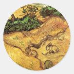 Van Gogh Field met Twee Konijnen, Vintage Ronde Sticker