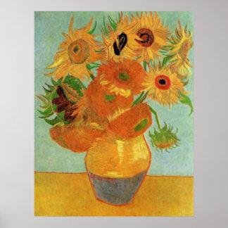 Van Gogh Flower Kunst, Vaas met 12 Zonnebloemen