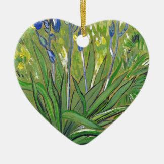 Van Gogh kunstIrissen, acrylreproductie Keramisch Hart Ornament