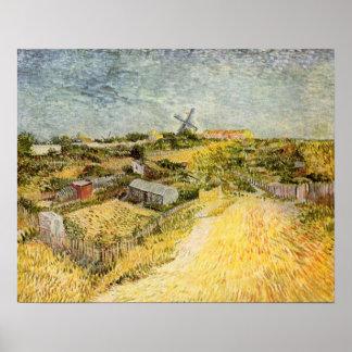 Van Gogh Moestuinen in Montmartre, Fijn Art. Poster
