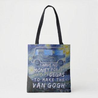 Van Gogh Monet ontgas de Grappige Sterrige Nacht Draagtas
