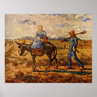 Van Gogh; Ochtend: Het Paar die van de boer gaan Poster