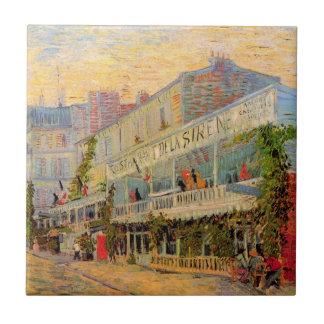 Van Gogh Restaurant La Sirene, Asnieres, Fijn Art. Tegeltje Vierkant Small