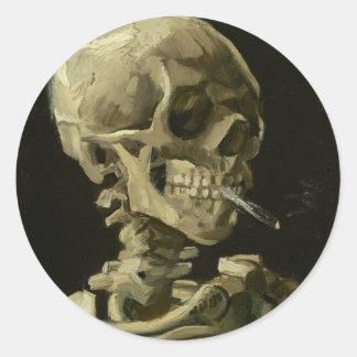 Van Gogh - Schedel met het Branden van Sigaret Ronde Sticker