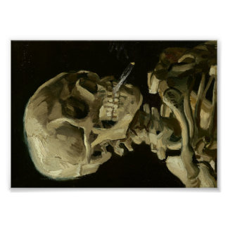 Van Gogh Skull van Skelet met het Branden van Poster