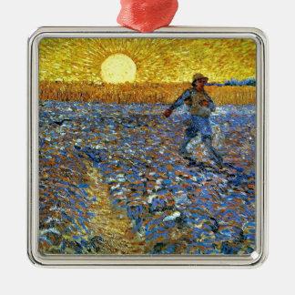 Van Gogh - Sower Zilverkleurig Vierkant Ornament