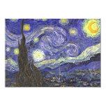 Van Gogh Starry Nacht, het Vintage Fijne Landschap 12,7x17,8 Uitnodiging Kaart