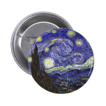 Van Gogh Starry Nacht Ronde Button 5,7 Cm