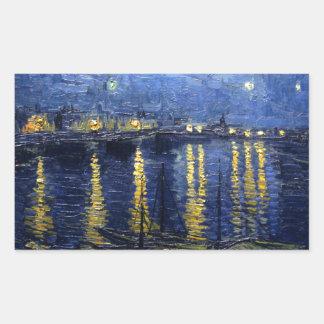 Van Gogh: Sterrige Nacht over de Rhône Rechthoekige Sticker