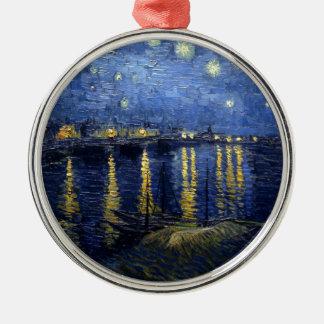 Van Gogh: Sterrige Nacht over de Rhône Zilverkleurig Rond Ornament