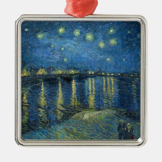 Van Gogh: Sterrige Nacht over de Rhône Zilverkleurig Vierkant Ornament
