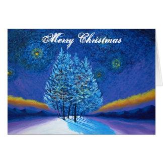 Van Gogh Style Blauwe Kerstmis Briefkaarten 0