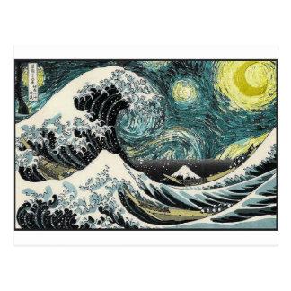 Van Gogh The Sterrige Nacht - Hokusai de Grote Briefkaart