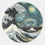 Van Gogh The Sterrige Nacht - Hokusai de Grote Ronde Sticker