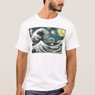 Van Gogh The Sterrige Nacht - Hokusai de Grote T Shirt