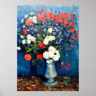 Van Gogh - Vaas met Korenbloemen en Papavers Poster